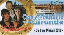 Croisière Musette sur la Gironde du 9 au 14 Avril 2018 avec Danse Musette Passion